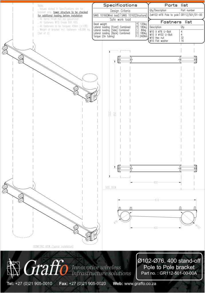 102mm to 76mm, 400 stand-off pole to pole bracket