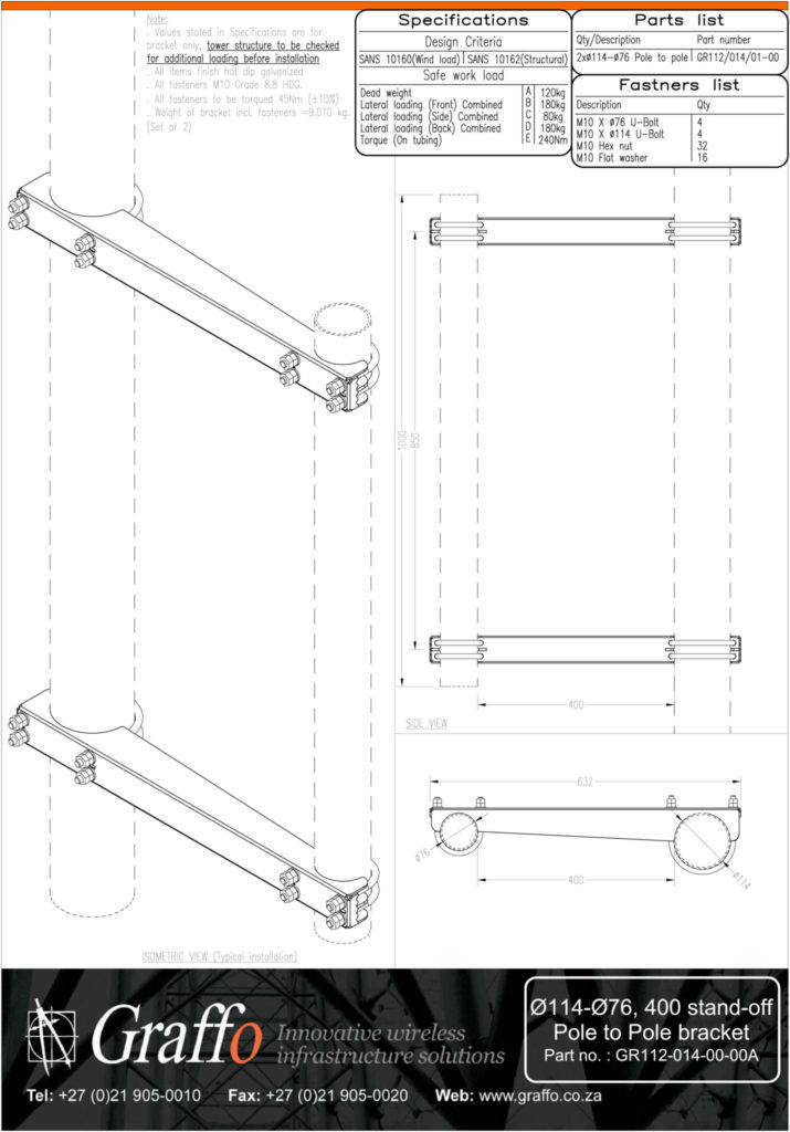 114mm to 76mm, 400 stand-off pole to pole bracket