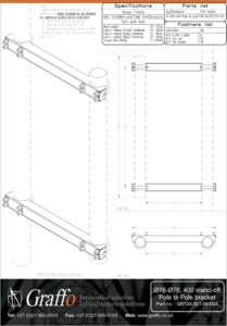 76mm to 76mm, 400 stand-off pole to pole bracket